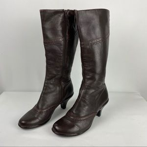Sofft Brown Leather Tall Heeled Boots sz 7